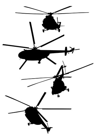 Vector drawing of helicopters. Silhouettes on a white background Vector