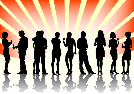 Vector image of men and women at the party. Silhouettes on a color background Vector