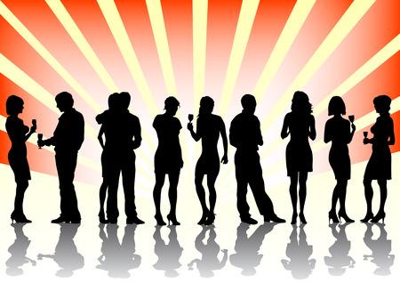 남자와 여자 파티에서의 벡터 이미지. 색상 배경에 실루엣