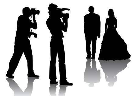 silhouette of bride: Vector drawing of photographers at a wedding. Silhouettes on a white background