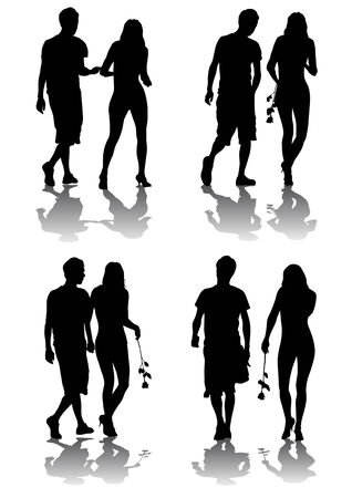 Vector silhouette of amorous couples. Silhouettes on a white background Vector
