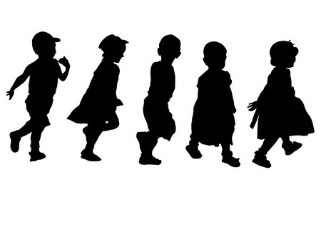 Vector drawing of children playing. Silhouettes on a white background Vector