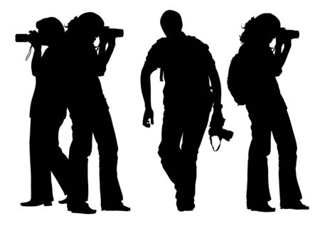Vector drawing of photographers at a work. Silhouettes on a white background Vector