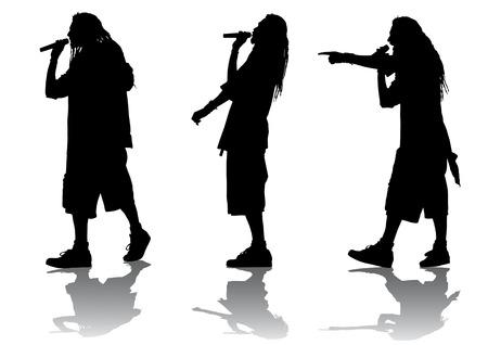 dance hip hop: Dibujo vectorial en la moda juvenil y la m�sica Vectores