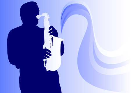musical instruments: Vector graphic saxophonist in concert. Silhouette on blue background