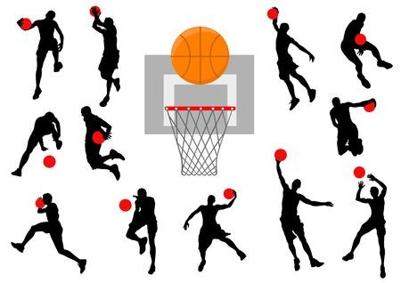 ballon basketball: Basket-ball graphique vectoriels. Silhouette homme avec la balle.