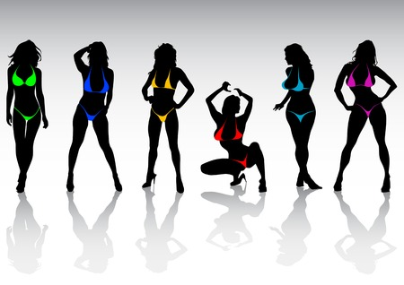 Vector silhouettes of girls in bikini at the beach Vector