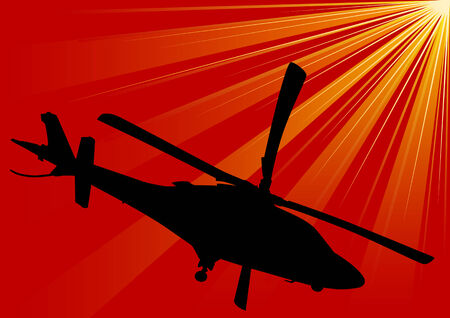 sikorsky: Vector drawing of military helicopters on a background of red sky