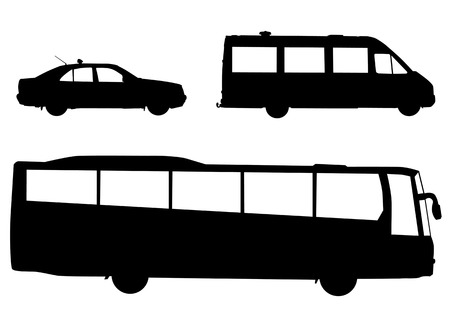 Vector image of public transport. Silhouettes on a white background Vector