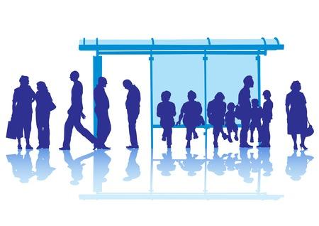 Vector rysunek tłumy na przystanek komunikacji publicznej Ilustracje wektorowe