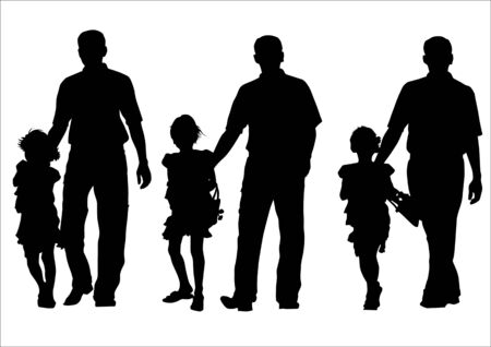 Vector image of father and daughter for a walk. Silhouette on white background Stock Vector - 5301644