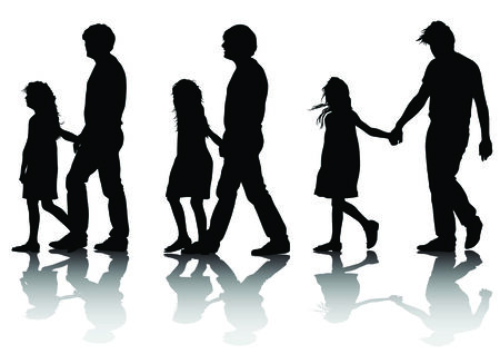 Vector image of father and daughter for a walk. Silhouette on white background Vector