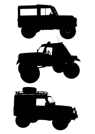 Vector drawing machines to ride on the road. Silhouettes on a white background Vector