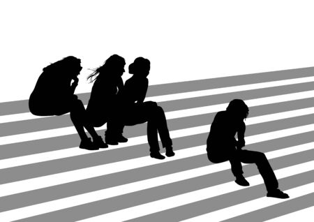 Vector drawing of people on the stairs during the holidays. Silhouettes on a white background Illustration