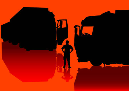 parked: Vector drawing of large trucks parked for the rest