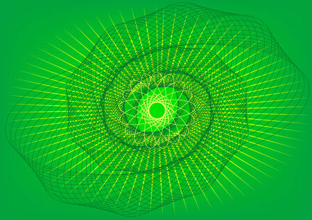 Vector drawing abstract lines and patterns on a green background Stock Vector - 5346599
