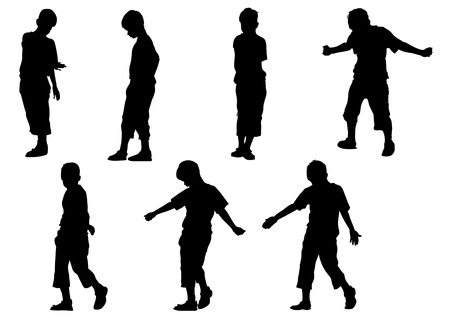 adolescence: Vector drawing boy in motion. Silhouette on white background