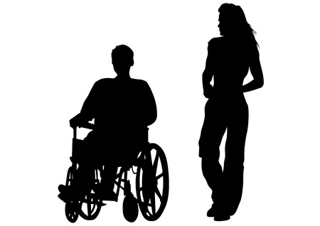 Vector drawing rights in a wheelchair. Silhouette on white background