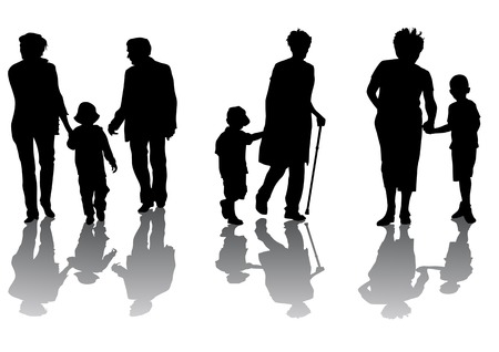 grandchildren: Vector graphic grandmother and grandson. Silhouettes on a white background