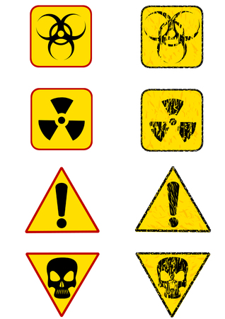 trash danger: Vector graphic sign warning of radiation. Prohibitory sign