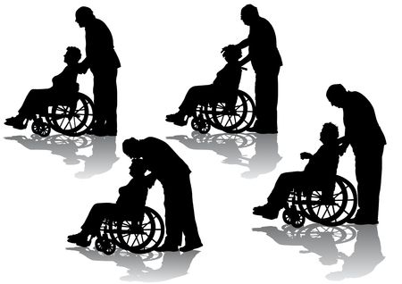 vector wheel: Vector graphic disabled in a wheel chair. Silhouettes on a white background Illustration