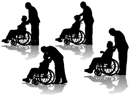Vektorgrafik Behinderte im Rollstuhl. Silhouetten auf weißem Hintergrund