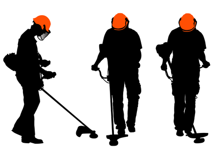 Vector drawing workshop with the lawn mower. Silhouette on white background