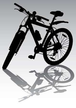 Vector drawing a bicycle in the parking lot. Isolated silhouette Vector
