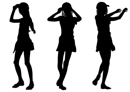Vector image of young girls. Silhouette on white background Vector
