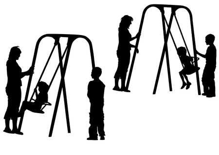 Vector Image of children on the swing. Silhouettes on a white background Vector