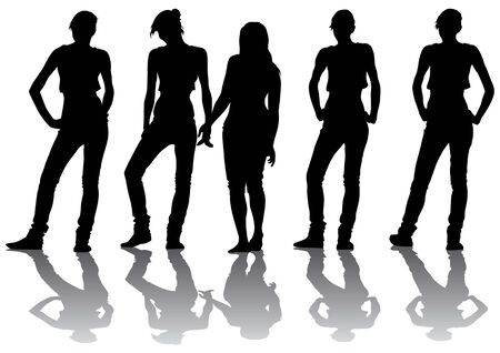 Vector drawing shapely girls. Silhouettes on a white background Vector