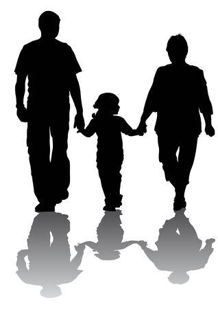 parejas caminando: Las familias con ni�os de dibujo vectorial. Siluetas sobre un fondo blanco Vectores