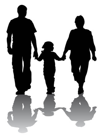 yürüyüş: Vector drawing families with children. Silhouettes on a white background