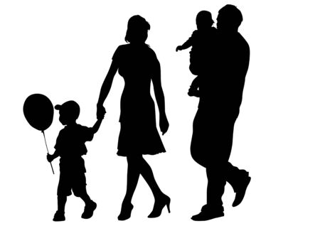 Vector drawing families with children. Silhouettes on a white background