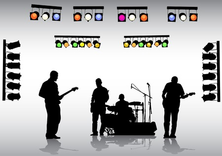Vector drawing rock band on the stage and lighting equipment Vector