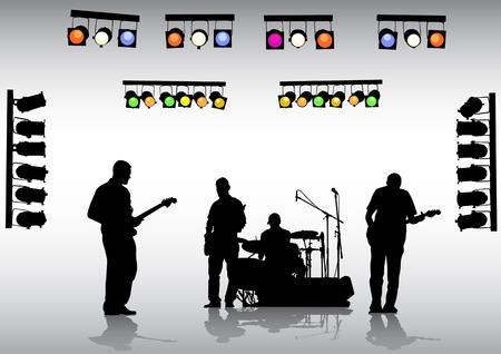 De rock de dibujo vectorial de banda en el escenario y los equipos de iluminación