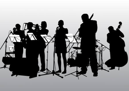 Vector drawing music jazz orchestra. People with musical instruments Vector