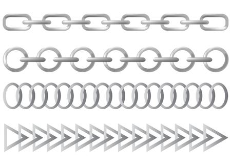 Vecteur de dessin des maillons de la chaîne en acier. Vous pouvez créer une chaîne de toute chaîne.  Vecteurs