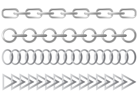Vector drawing links of steel chain. You can create a chain of any chain  Vector