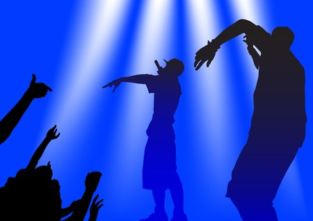 Vector silhouette of the artists of hip hop. A live performance on stage Vector