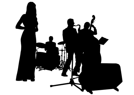 bands: Vector drawing music jazz orchestra. Artists on stage