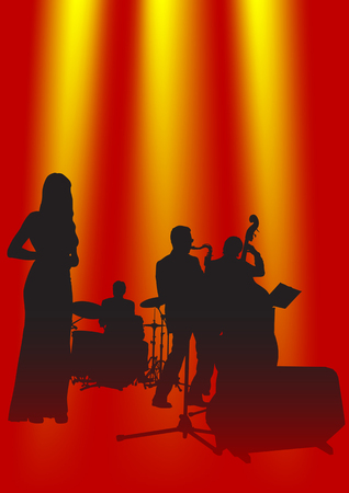 exhilaration: Vector drawing music jazz orchestra. Artists on stage