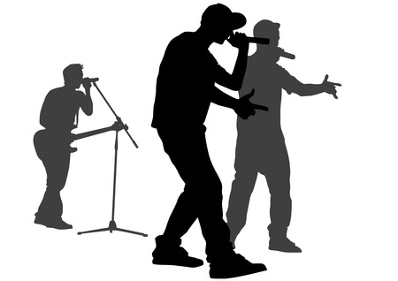 hip hop silhouette: Vector silhouette of the artists of hip hop. A live performance on stage