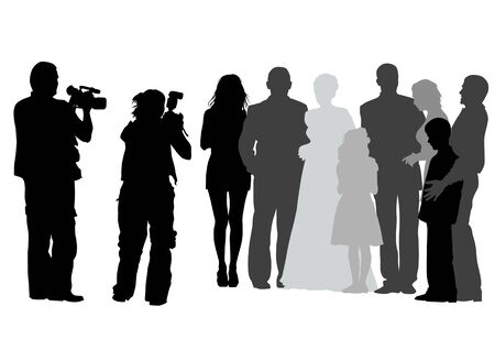 Vector drawing of photographers at a wedding. Silhouettes on a white background Vector