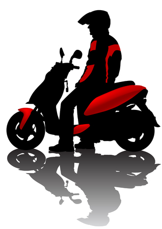 Vector drawing motorcyclist. Silhouette on white background Vector