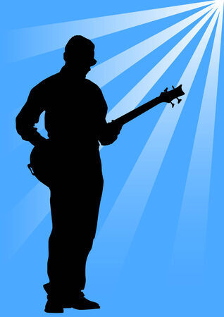 adulation: Vector drawing musician with bass guitar. Silhouetted against the rays of light