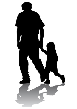 Vector drawing grandfather and granddaughter for a walk. Silhouette on white background Stock Vector - 5446544