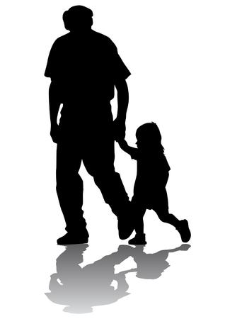 Vektor-Zeichen-Großvater und Enkelin spazieren. Silhouette auf weißem Hintergrund