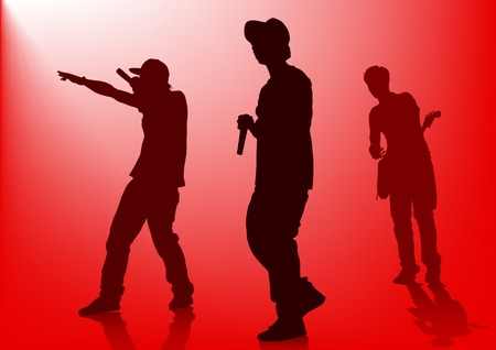 live performance: Vector silhouette of the artists of hip hop. A live performance on stage