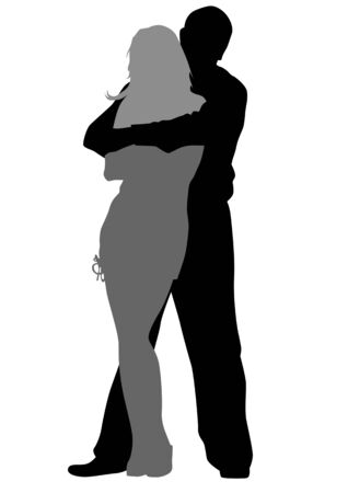 Vector drawing lovers. Silhouettes on white background Vector